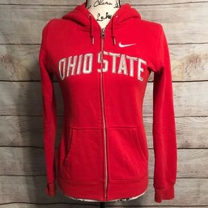 Nike Ohio State Size Small Full Zip Red Hoodie